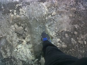 Be careful of slush or ice.