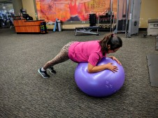 Working the abs on the stability ball.